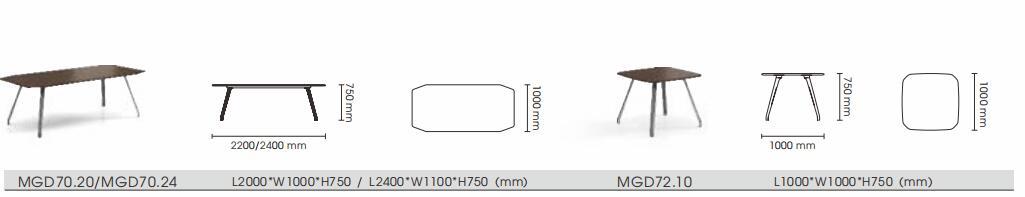 格调系列H034会议桌尺寸图3