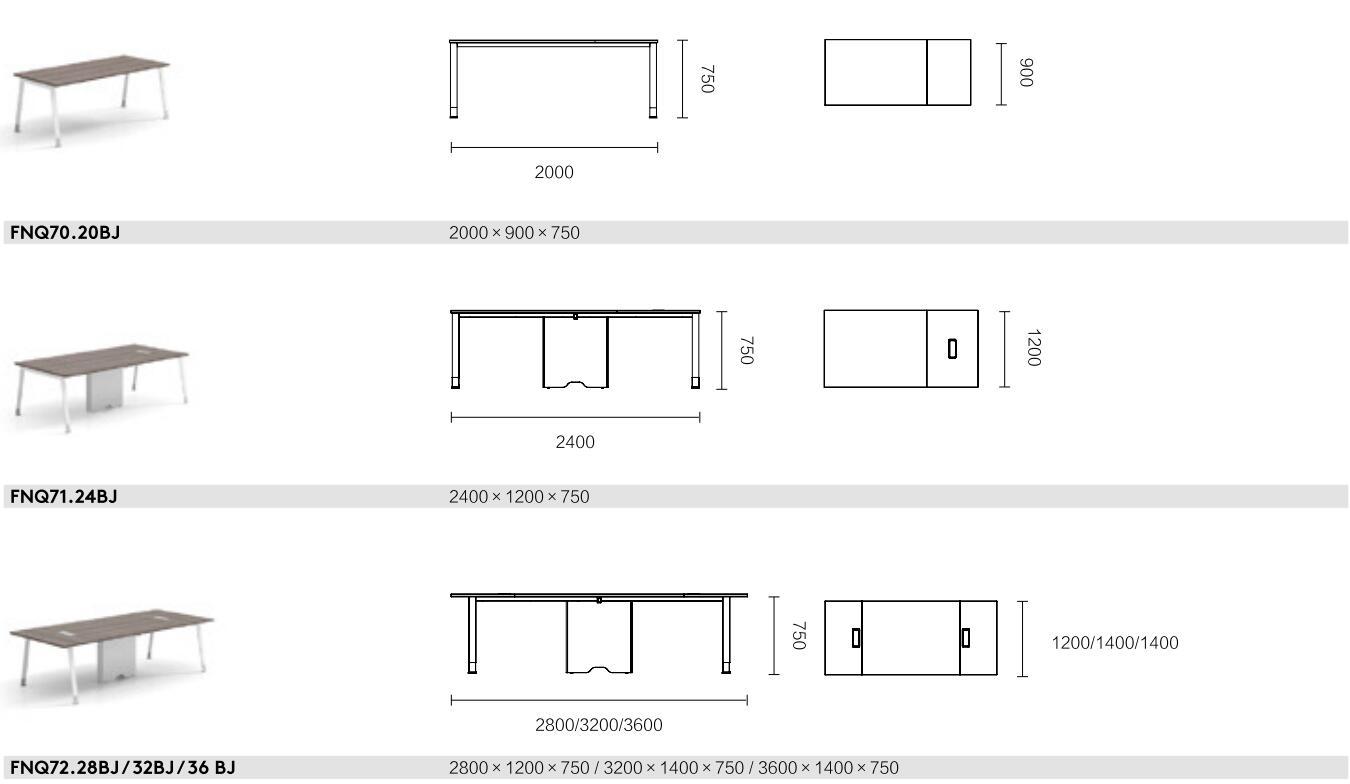 诺奇系列FQ40会议桌尺寸图