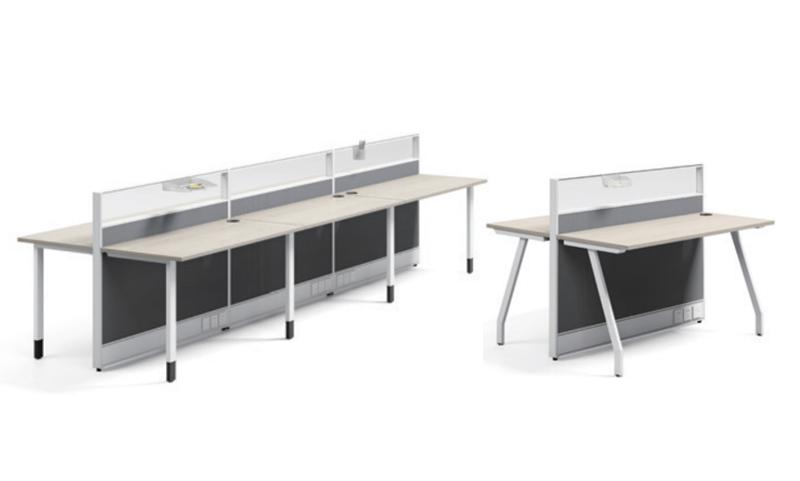 Thick&Thin系列6人位钢架职员桌椅组合直脚八字脚