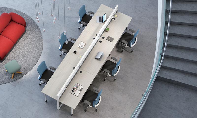 Thick&Thin系列6人位钢架职员桌椅组合