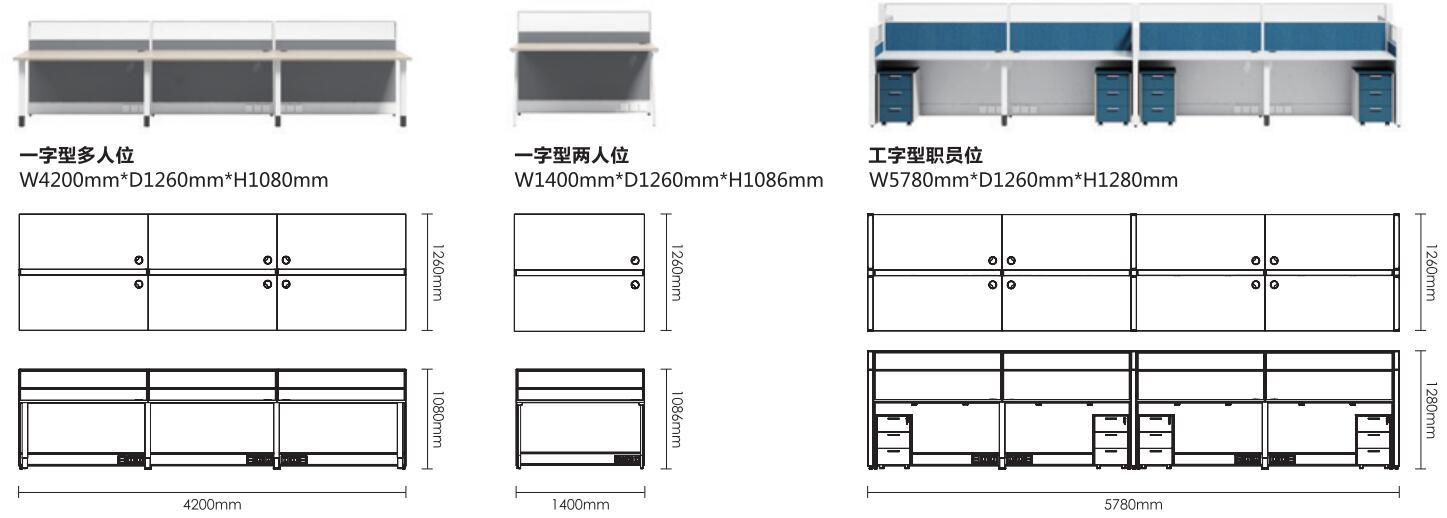 Thick&Thin系列6人位钢架职员桌椅组合尺寸图