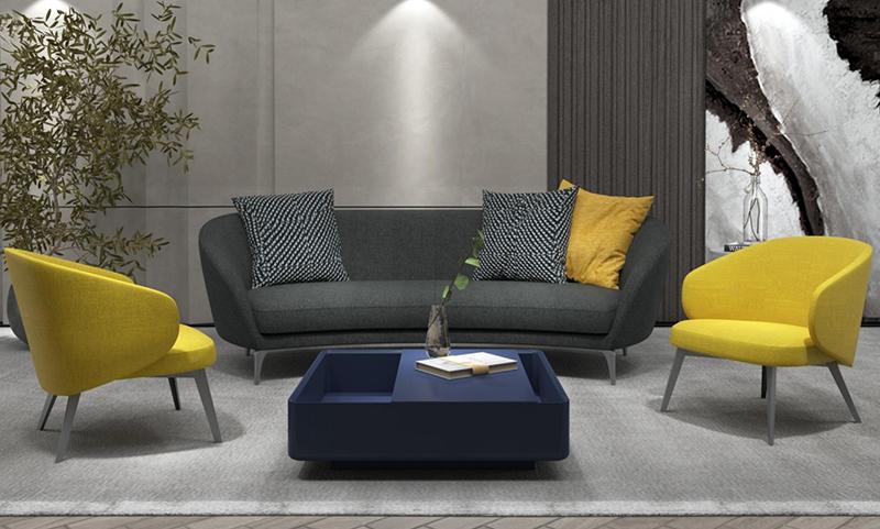 Bee缤逸系列弧形老款友博国际棋牌室沙发深色版